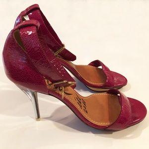 Lanvin Fuchsia Patent Ankle strap, Lucite Heels